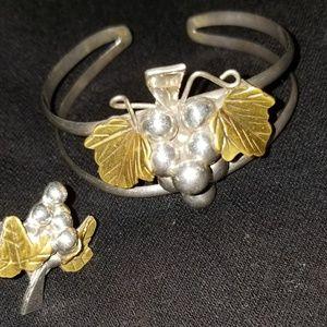 Silver .925 Set:Cuff/Ring